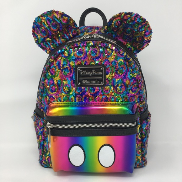 fd15e787bc72 Loungefly Disney Mickey Rainbow Sequined Backpack